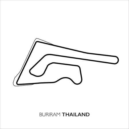 Buriram circuit, Thailand. Motorsport race track vector map