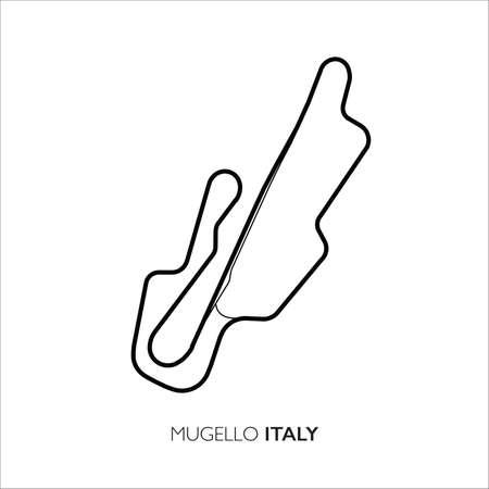 Mugello circuit, Italy. Motorsport race track vector map
