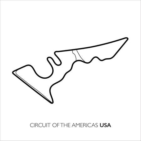 Circuit of the Americas circuit. Motorsport race track vector map