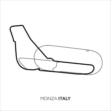 Monza circuit, Italy. Motorsport race track vector map Vector Illustratie
