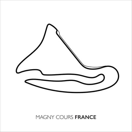 Magny Cours circuit, France. Motorsport race track vector map