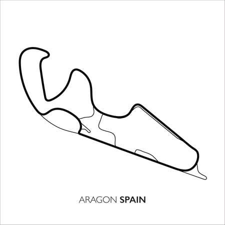 Aragon circuit, Spain. Motorsport race track vector map