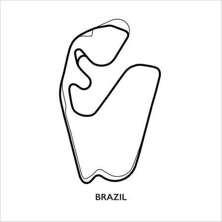 Brazil circuit. Motorsport race track vector map