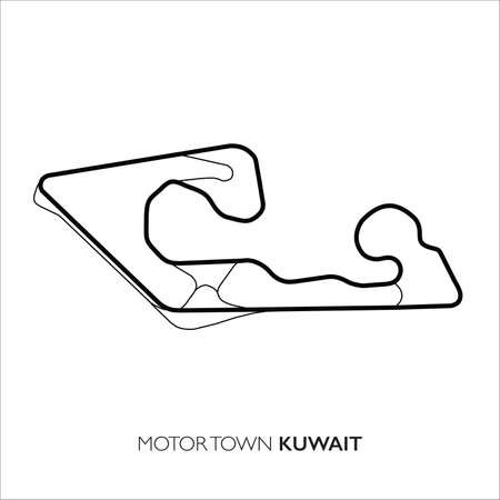 Motor Town circuit, Kuwait. Motorsport race track vector map 免版税图像 - 154283172