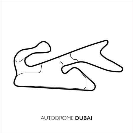 Dubai Autodrome circuit, Dubai. Motorsport race track vector map