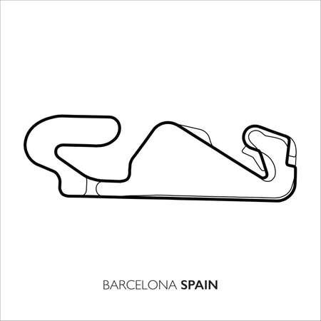 Barcelona circuit, Spain. Motorsport race track vector map