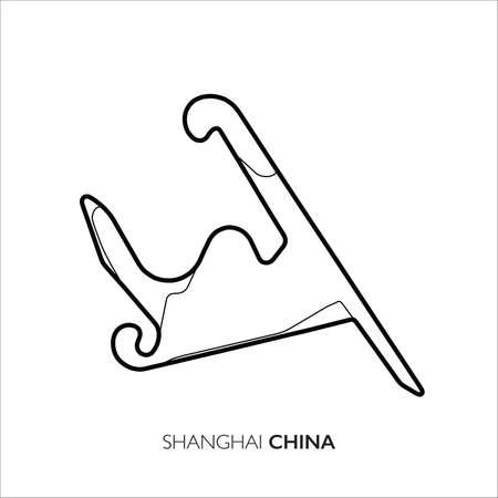 Shanghai circuit, China. Motorsport race track vector map