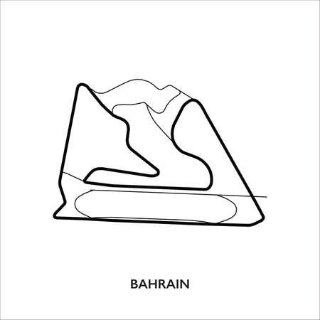 Bahrain International circuit. Motorsport race track vector map