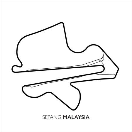 Sepang circuit, Malaysia. Motorsport race track vector map