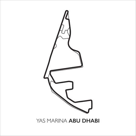 Yas Marina circuit, Abu Dhabi. Motorsport race track vector map