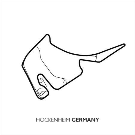 Hockenheim circuit, Germany. Motorsport race track vector map