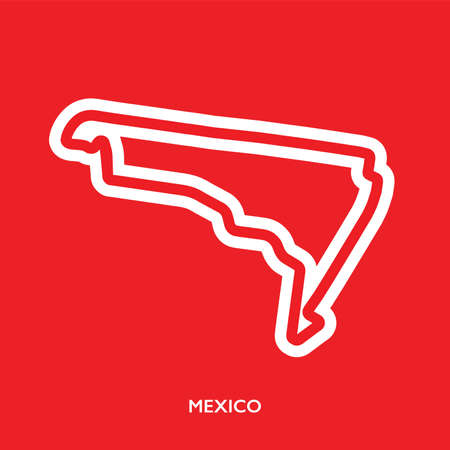 Mexico circuit. Motorsport race track vector map