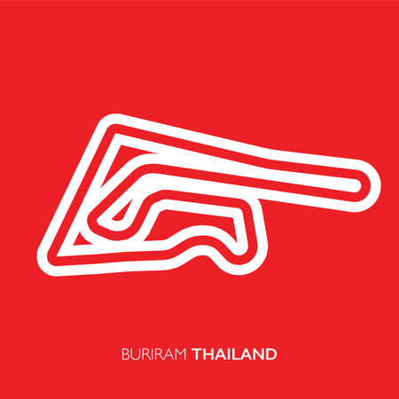 Buriram circuit, Thailand. Motorsport race track vector map 矢量图像