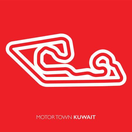 Motor town circuit, Kuwait. Motorsport race track vector map