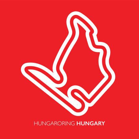 Hungaroring circuit, Hungary. Motorsport race track vector map