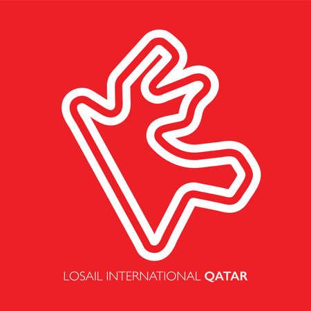 Losail circuit, Qatar. Motorsport race track vector map