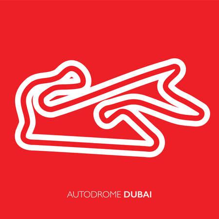 Dubai circuit, UAE. Motorsport race track vector map