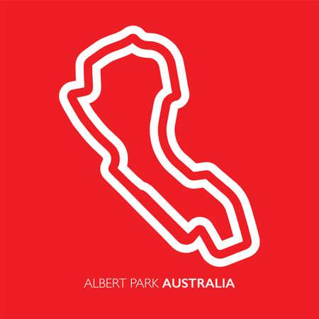 Albert park circuit, Australia. Motorsport race track vector map