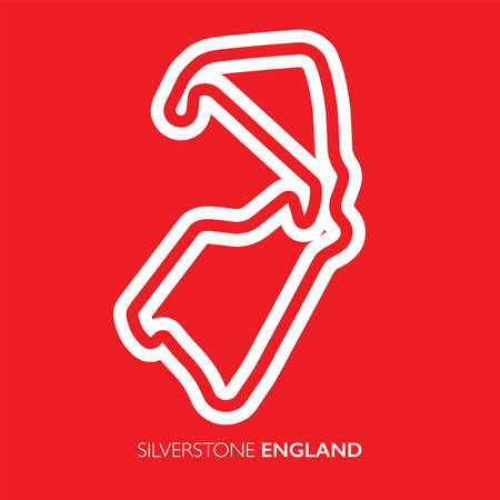 Silverstone circuit, England. Motorsport race track vector map 矢量图像