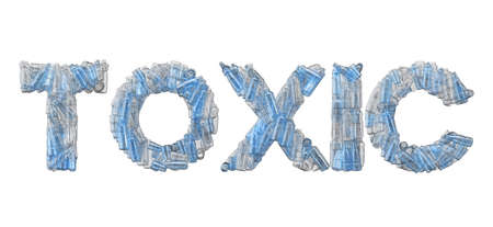 Toxic word spelt out in empty plastic bottle font. 3D Rendering