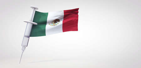 Vaccine immunization syringe with mexico flag. 3D Rendering