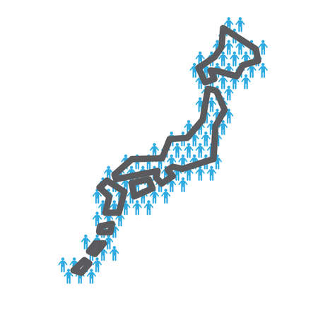 Japan population map. Country outline made from people figures