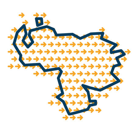 Venezuela simple outline map with yellow direction guide arrows.