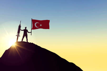 Turkey vaccine. Silhouette of person with flag and syringe. 3D Rendering