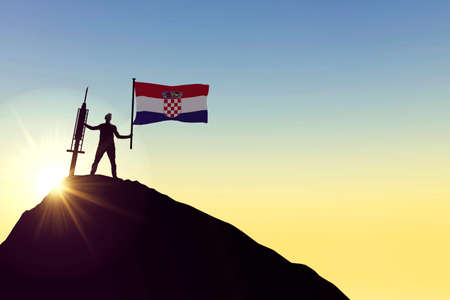 Croatia vaccine. Silhouette of person with flag and syringe. 3D Rendering
