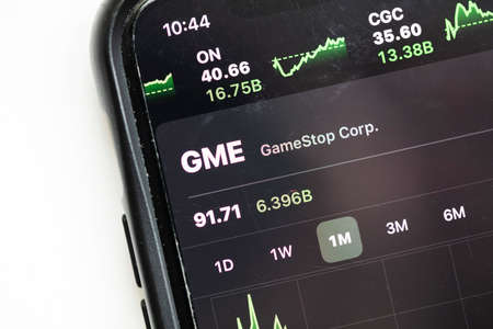 LONDON, UK - February 2021: Gamestop stock market price graph on a smart phone