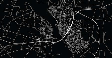 Urban vector city map of Nykobing falster, Denmark