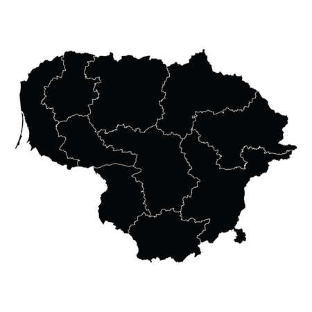 Lithuania country map vector with regional areas
