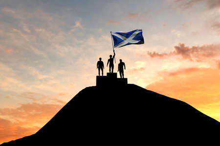 Scotland flag being waved on top of a winners podium. 3D Rendering Stock Photo
