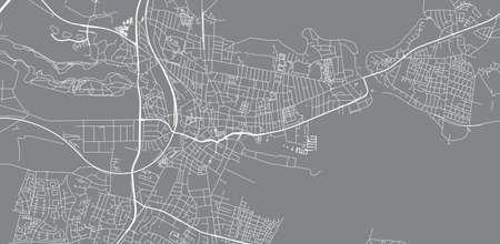 Urban vector city map of Horsens, Denmark