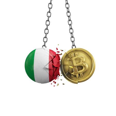 Italy flag smashing into a gold bitcoin crypto coin. 3D Rendering
