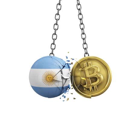 Argentina flag smashing into a gold bitcoin crypto coin. 3D Rendering