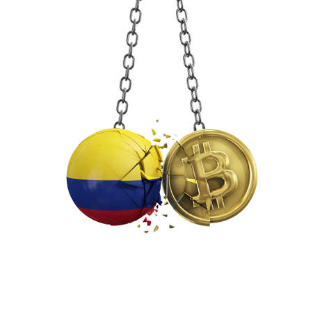 Colombia flag smashing into a gold bitcoin crypto coin. 3D Rendering