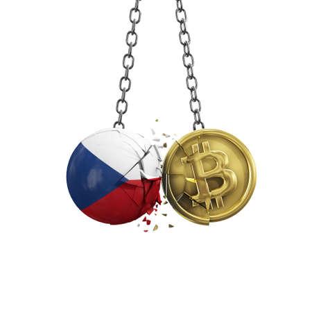 Czech flag smashing into a gold bitcoin crypto coin. 3D Rendering