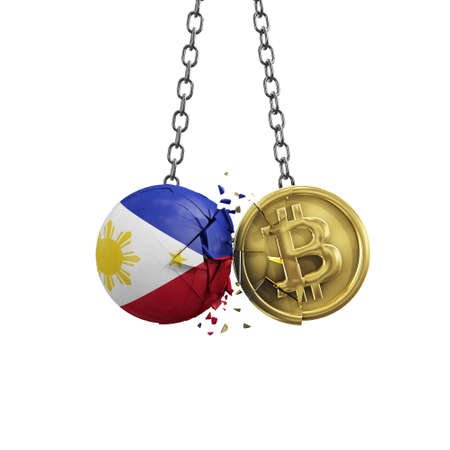 Philippines flag smashing into a gold bitcoin crypto coin. 3D Rendering