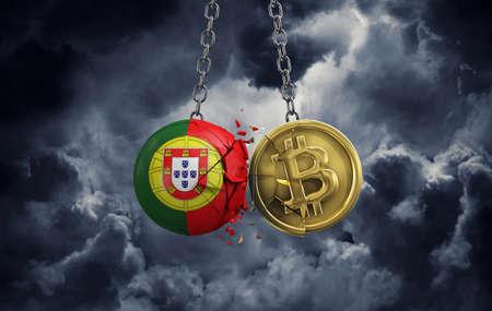 Portugal flag smashing into a gold bitcoin crypto coin. 3D Rendering