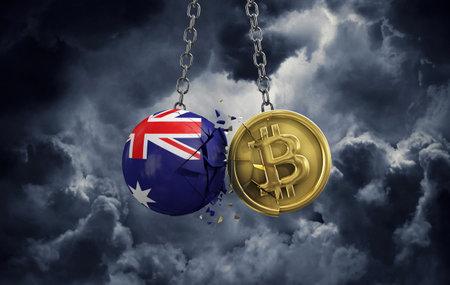 Australia flag smashing into a gold bitcoin crypto coin. 3D Rendering