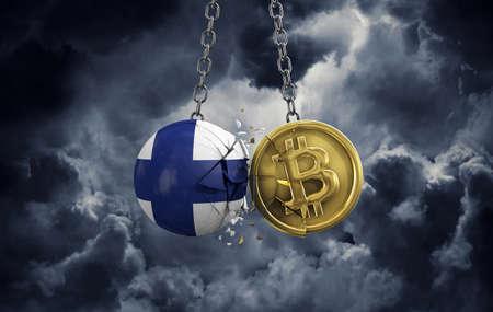 Finland flag smashing into a gold bitcoin crypto coin. 3D Rendering