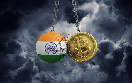 India flag smashing into a gold bitcoin crypto coin. 3D Rendering