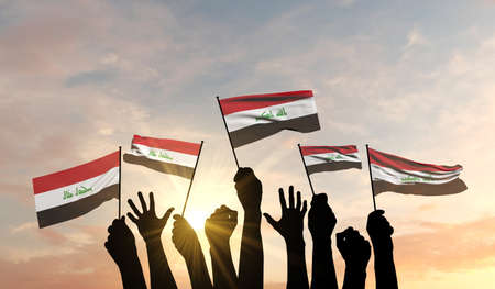 Silhouette of arms raised waving an Iraq flag with pride. 3D Rendering