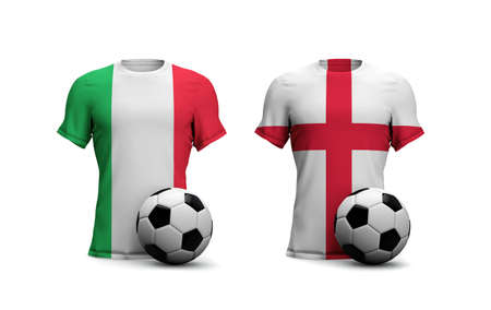 England Vs. Italy soccer match. National flags with football. 3D Rendering Stock Photo