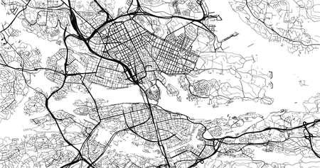 Urban vector city map of Stockholm, Sweden, Europe Vektoros illusztráció