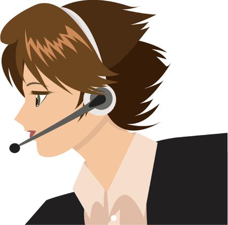 headset business: Ragazza Del Supporto tecnico Vettoriali