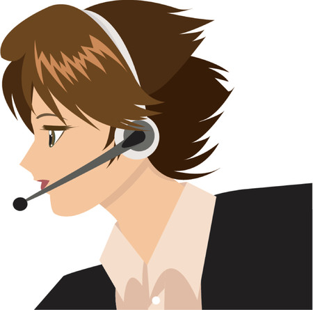 woman on phone: Tech Support Girl Illustration