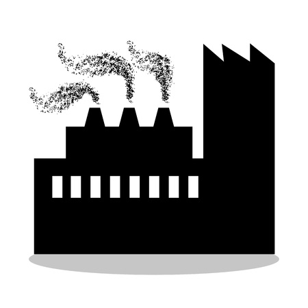 manufactory: Factory in black illustration template.