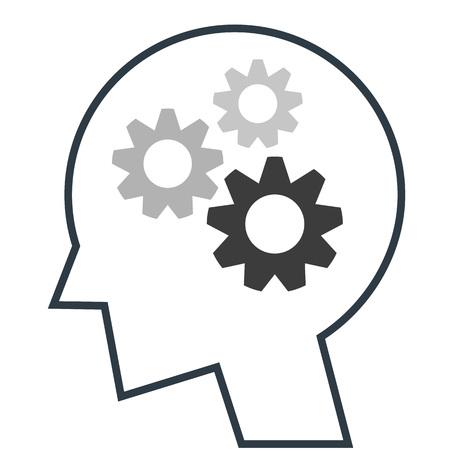 thinking machines: Head icon gear